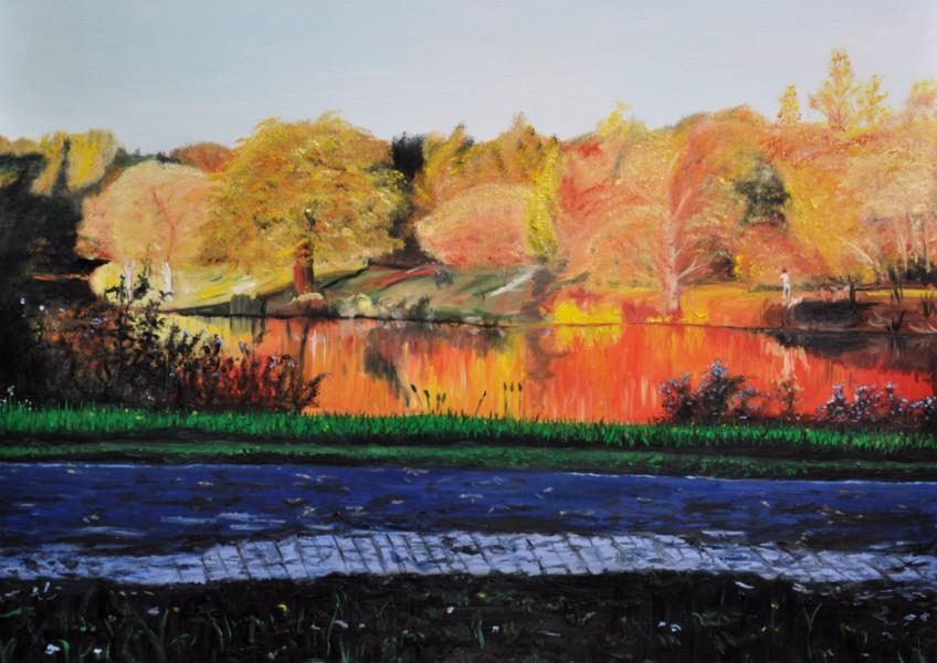 Herbst am Obersee in Bielefeld, Gemälde